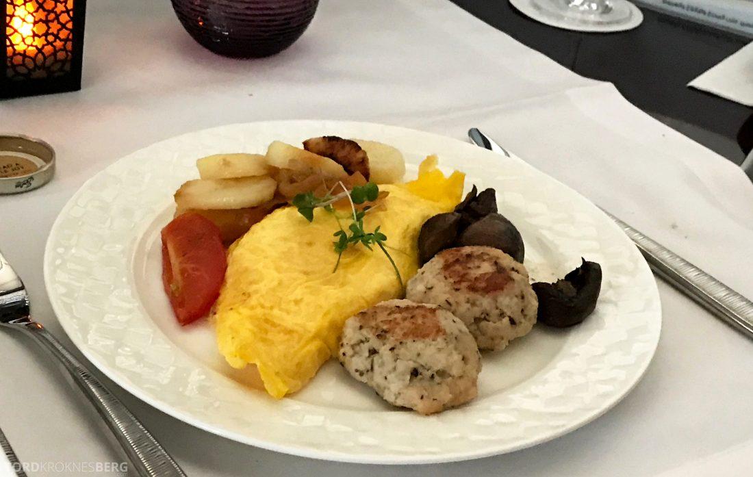 Qatar Airways Business Class Oslo Doha Penang omelett