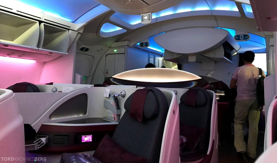 Qatar Airways Business Class Oslo Doha Penang kabin