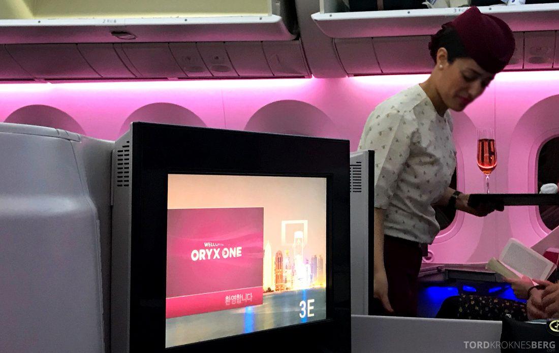 Qatar Airways Business Class Oslo Doha Penang velkomstdrink