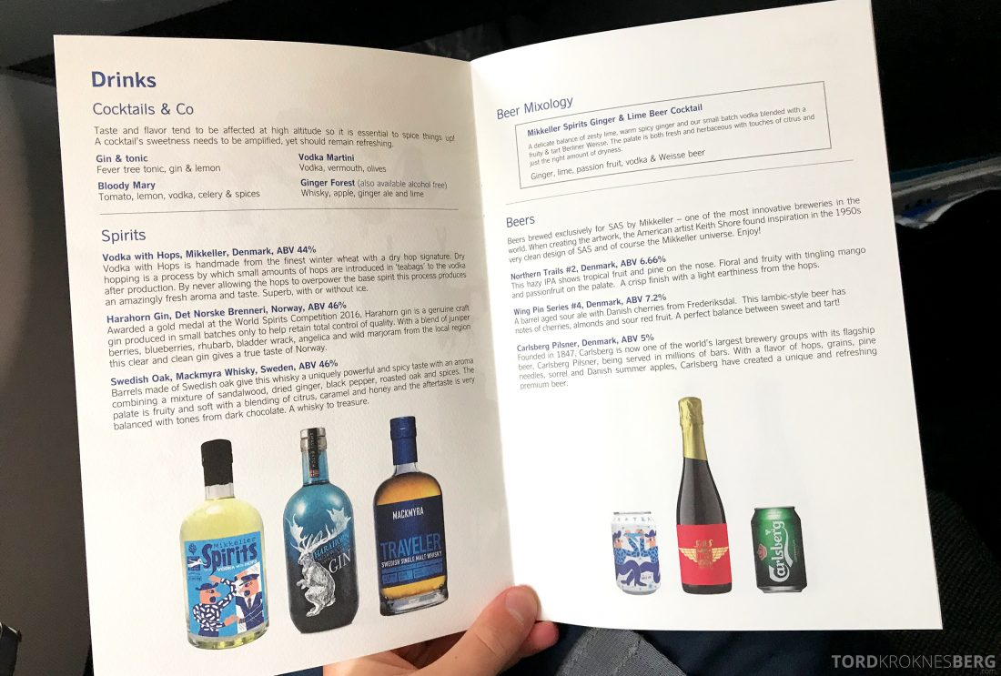 SAS Business Class Oslo Hong Kong meny drinker