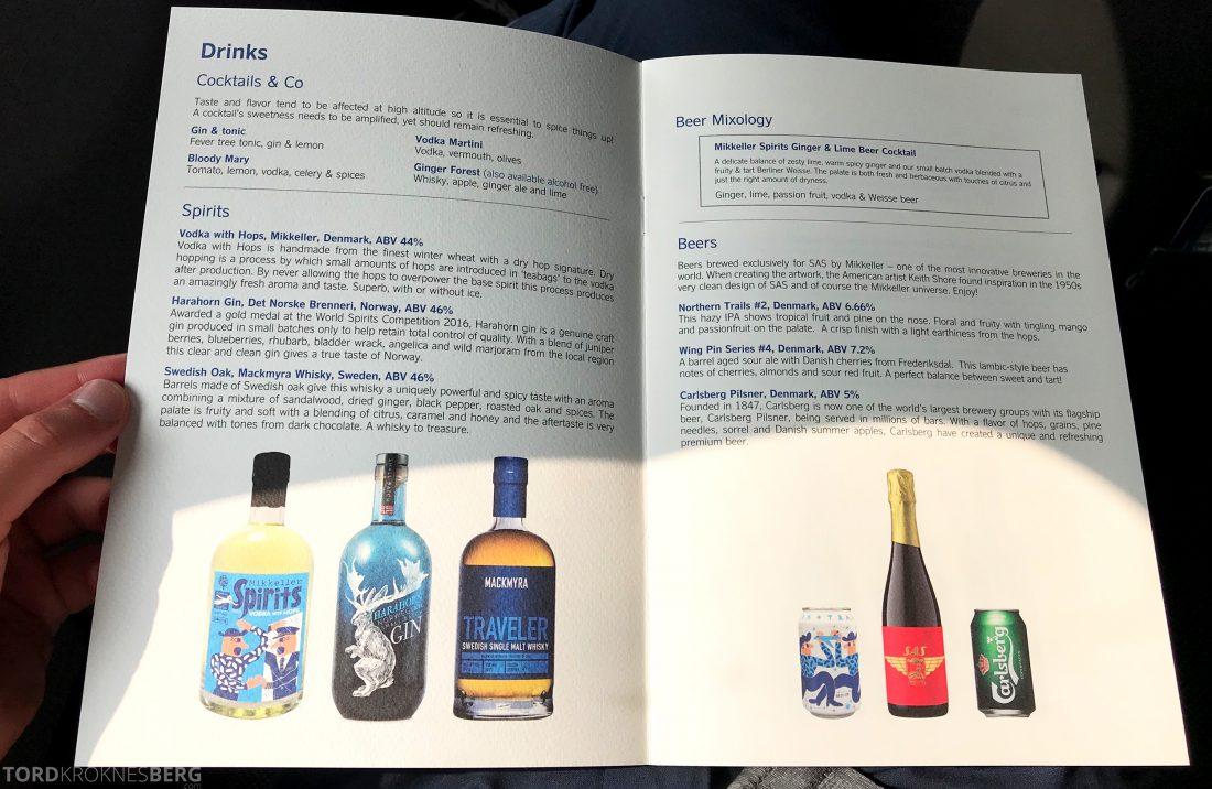 SAS Business Hong Kong Oslo meny drikke