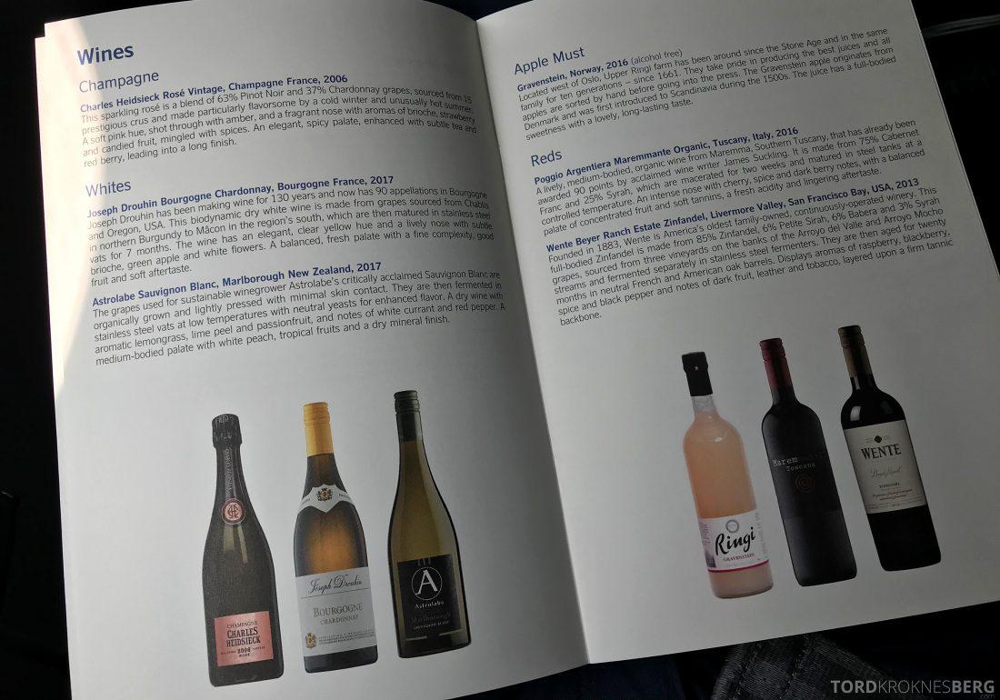 SAS Business Hong Kong Oslo meny champagne