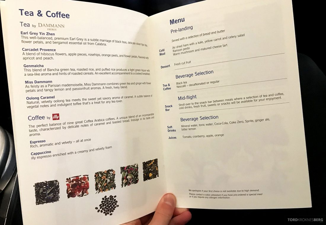 SAS Business Class Oslo Washington meny kaffe og te