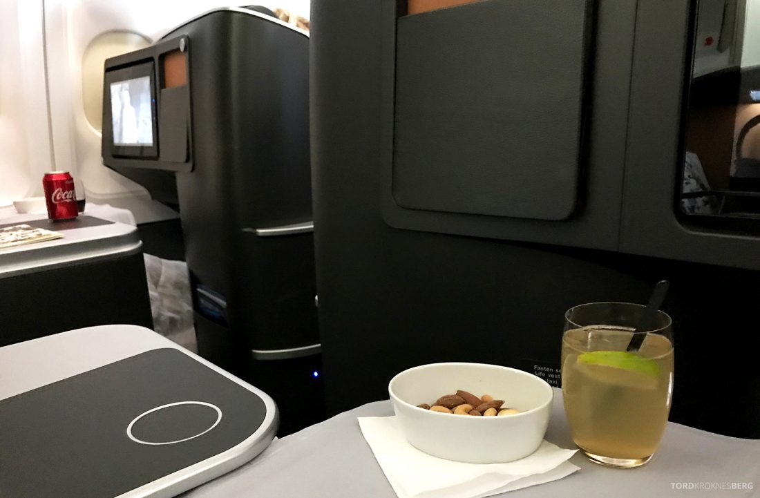 SAS Business Class Oslo Washington aperitiff