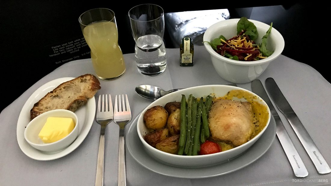 SAS Business Class Oslo Washington hovedrett kylling