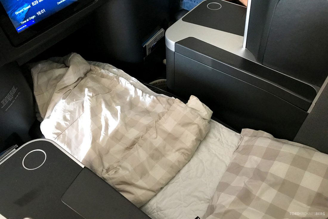 SAS Business Class Oslo Washington seng