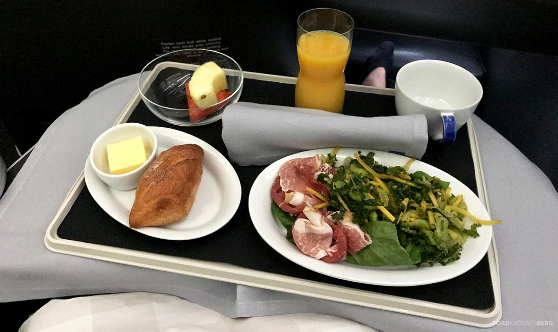 SAS Business Class Oslo Washington lunch