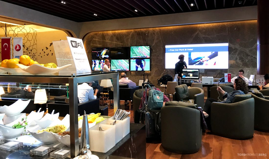 Turkish Airlines Lounge Washington buffet utsikt