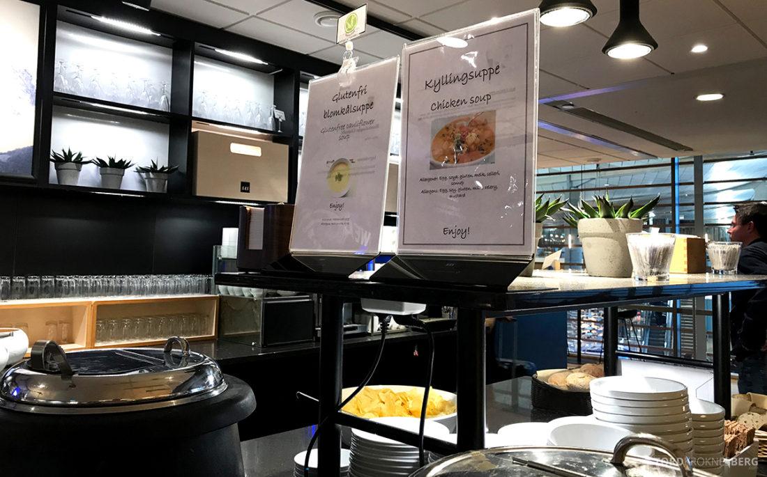 SAS Lounge International Oslo Gardermoen suppe