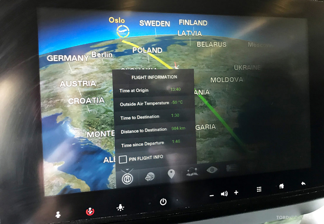 Turkish Airlines Economy Class Oslo Istanbul Doha skjerm