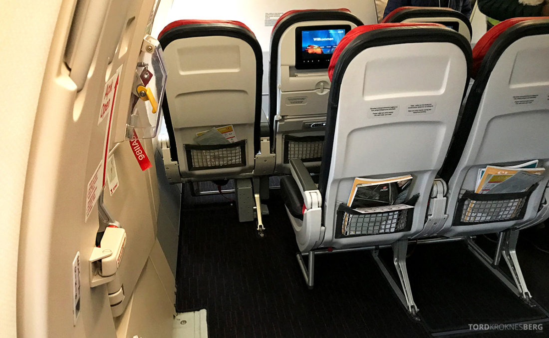 Turkish Airlines Economy Class Oslo Istanbul Doha nødutgang