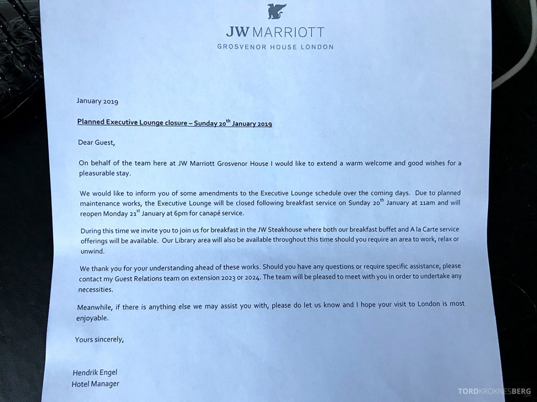 JW Marriott Hotel Grosvenor House London stengt lounge