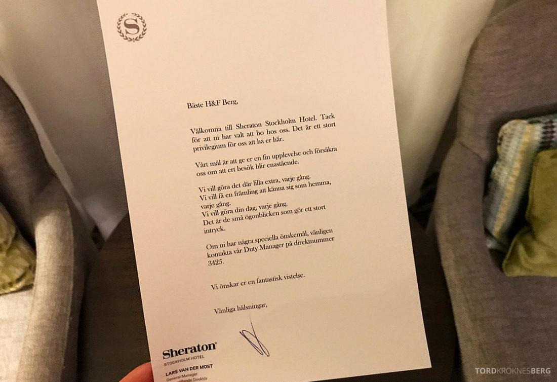 Sheraton Hotel Stockholm velkomstkort