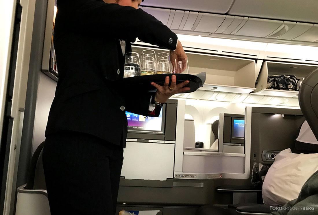 British Airways Club World Business Class London Seoul velkomstdrink