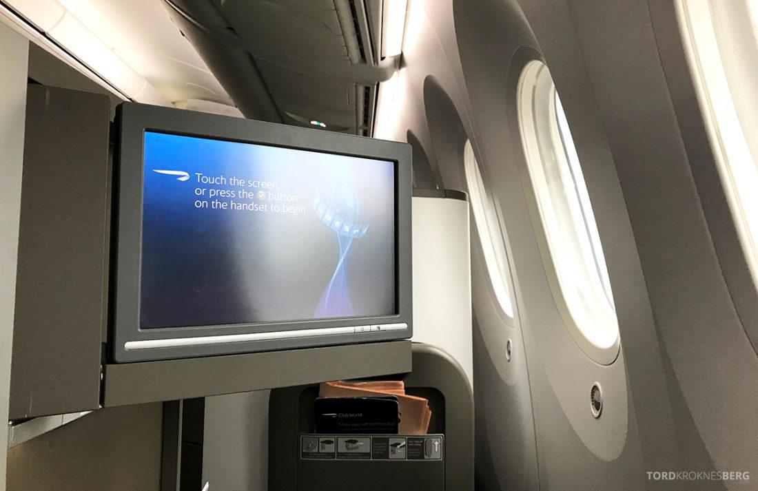 British Airways Club World Business Class London Seoul skjerm