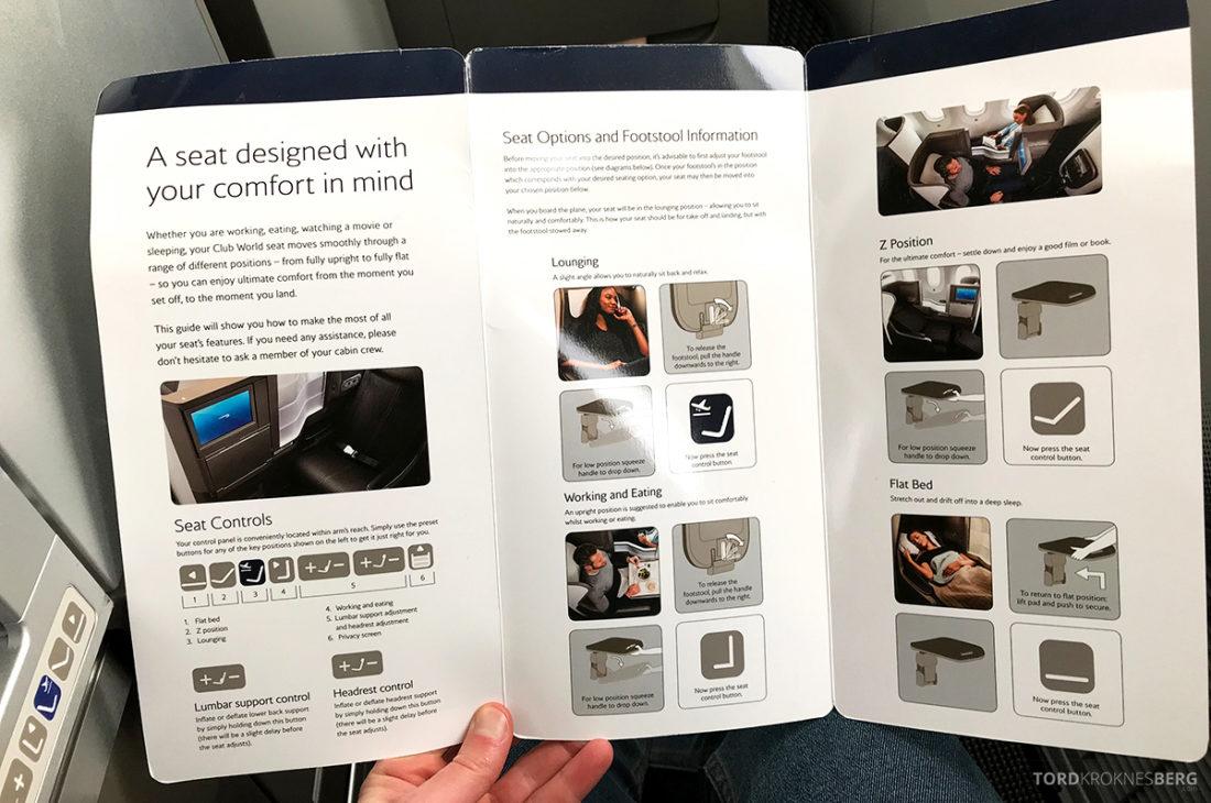 British Airways Club World Business Class London Seoul seteinstruksjon