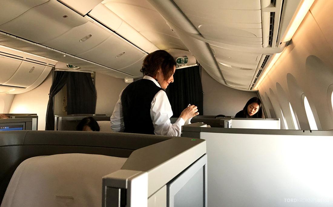 British Airways Club World Business Class London Seoul varm klut