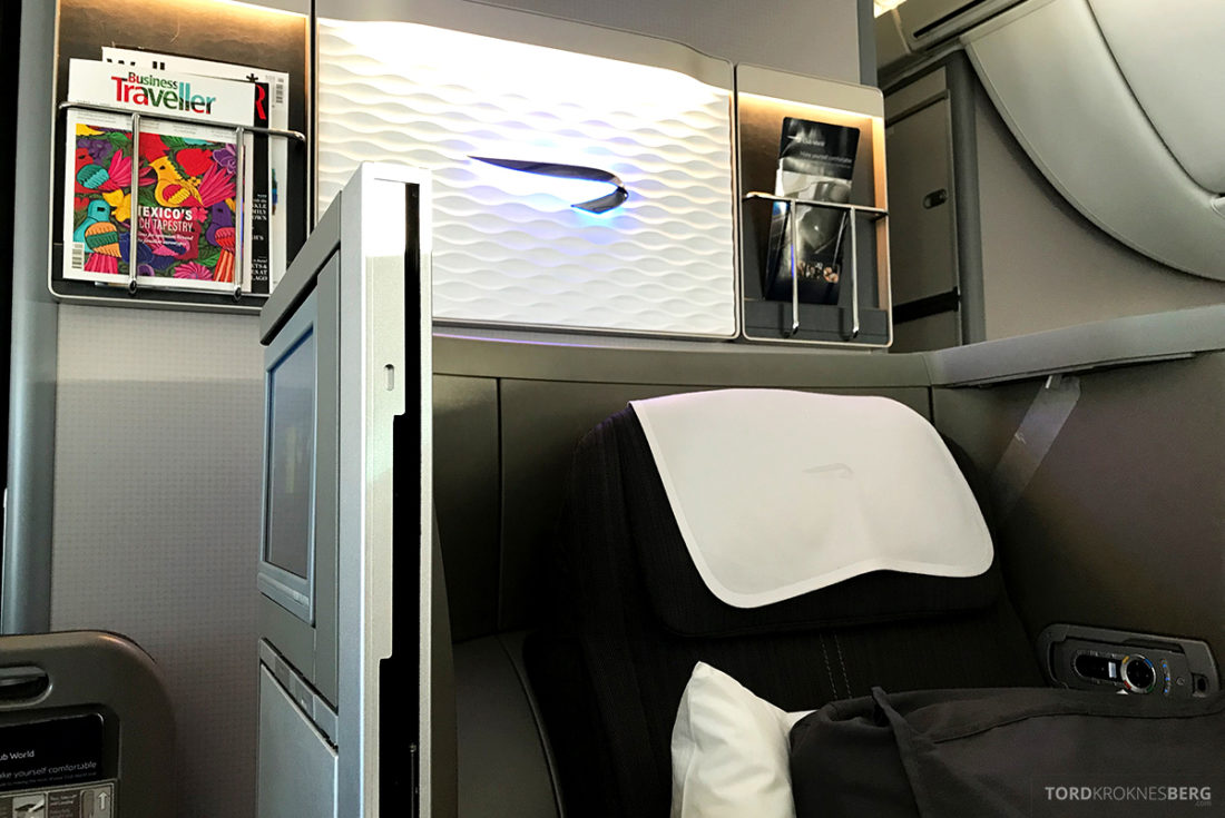 British Airways Club World Business Class London Seoul magasinhylle