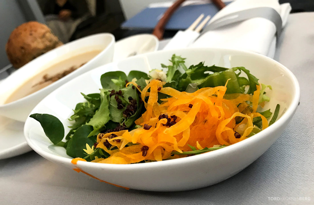 British Airways Club World Business Class London Seoul salat til forrett