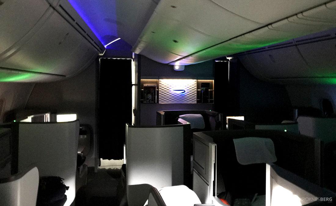 British Airways Club World Business Class London Seoul kabin natt