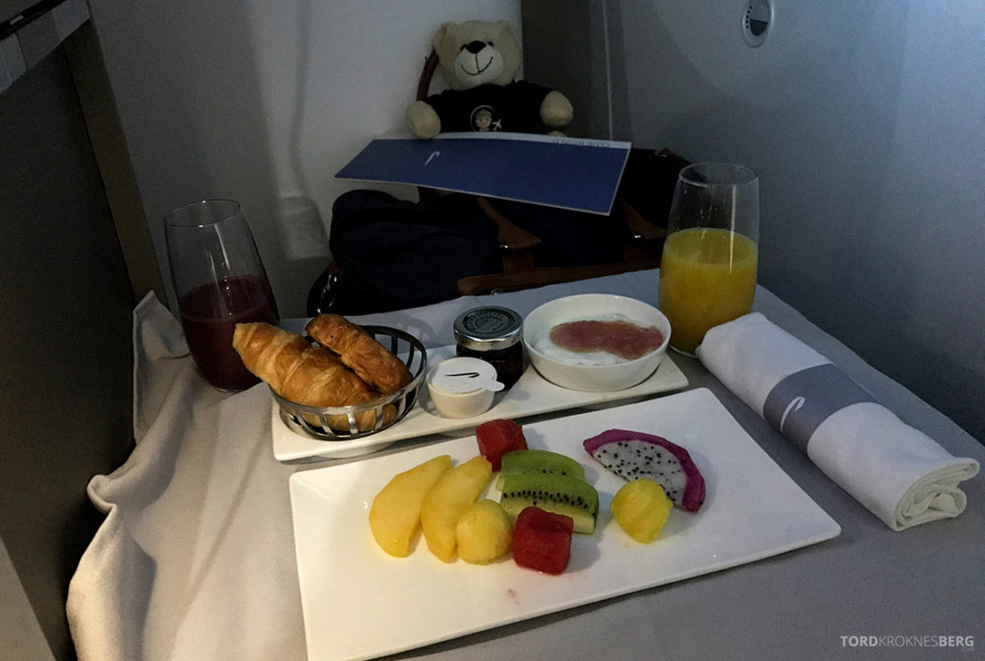 British Airways Club World Business Class London Seoul frokost