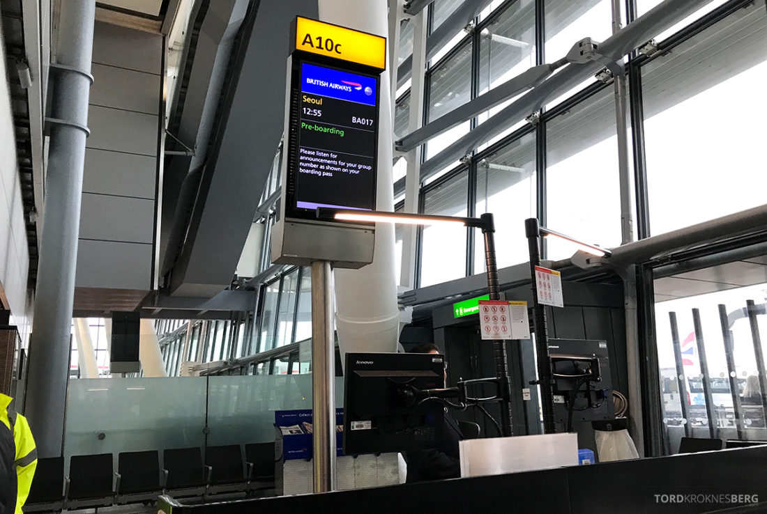 British Airways Club World Business Class London Seoul gate