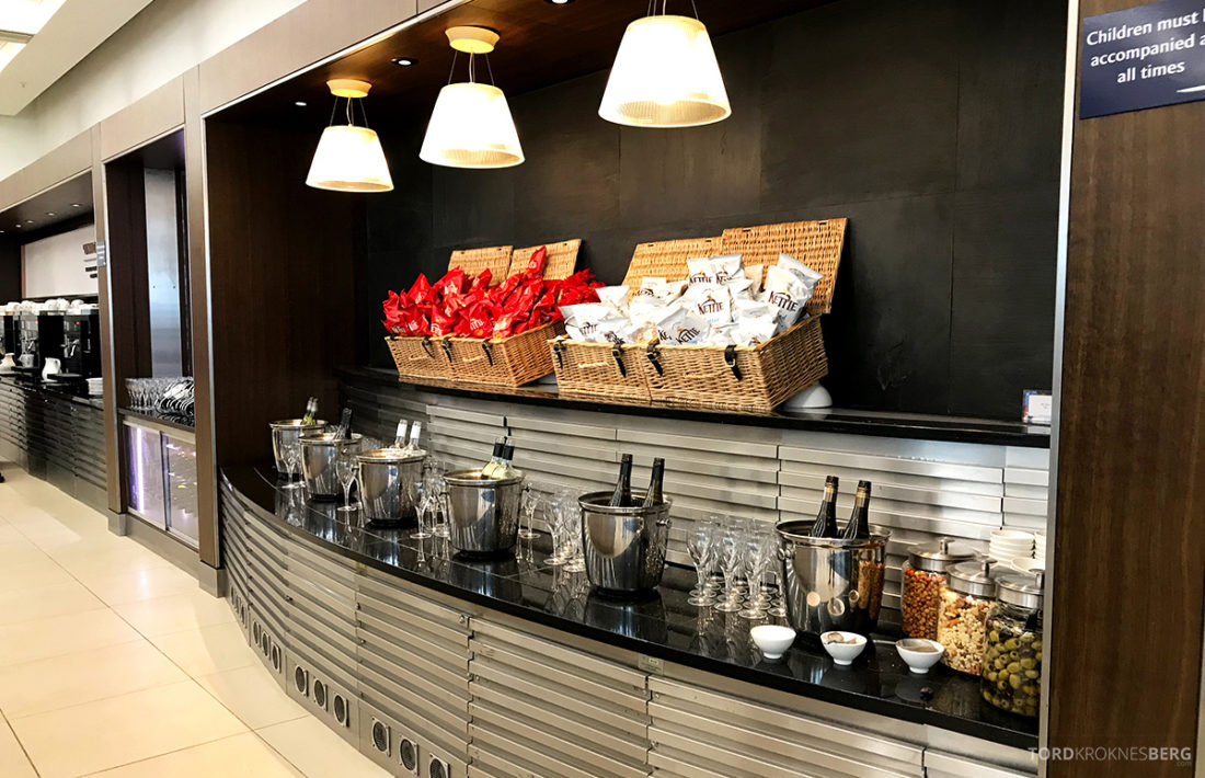 British Airways Galleries Club Lounge Heathrow London snacks og drikke