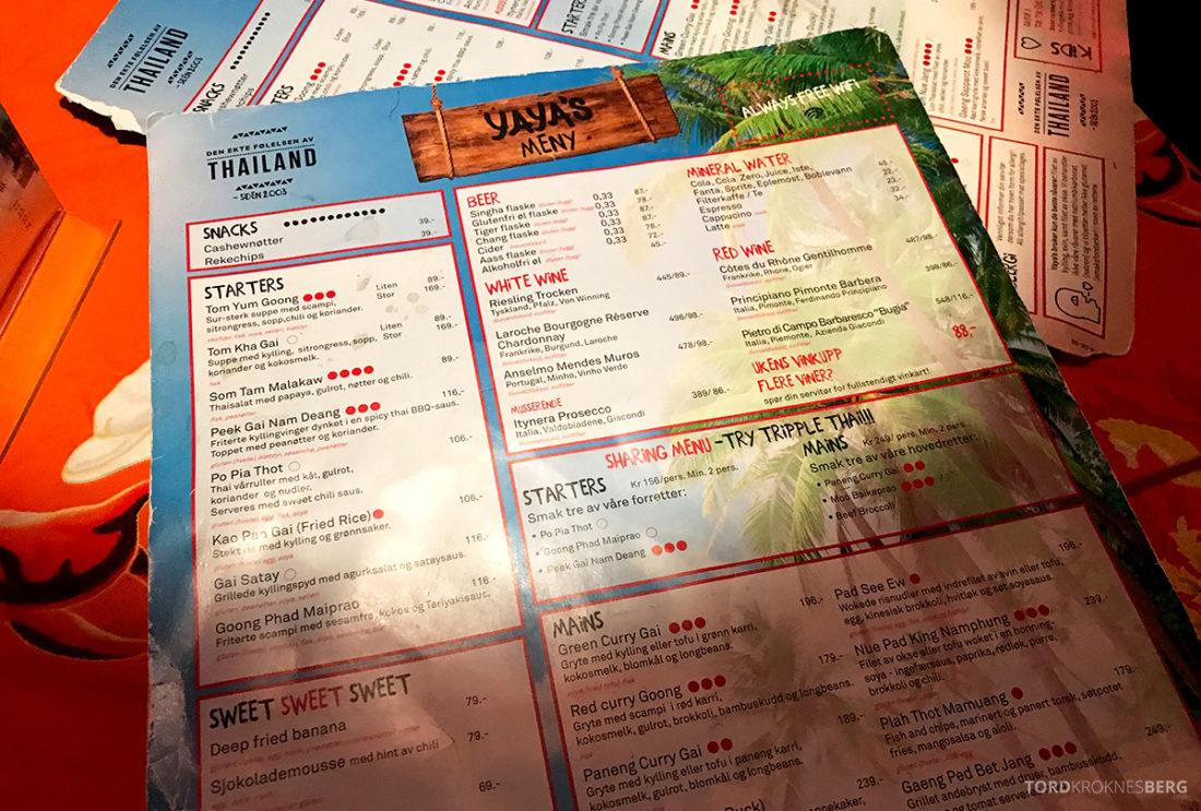 Yaya's Restaurant Oslo meny
