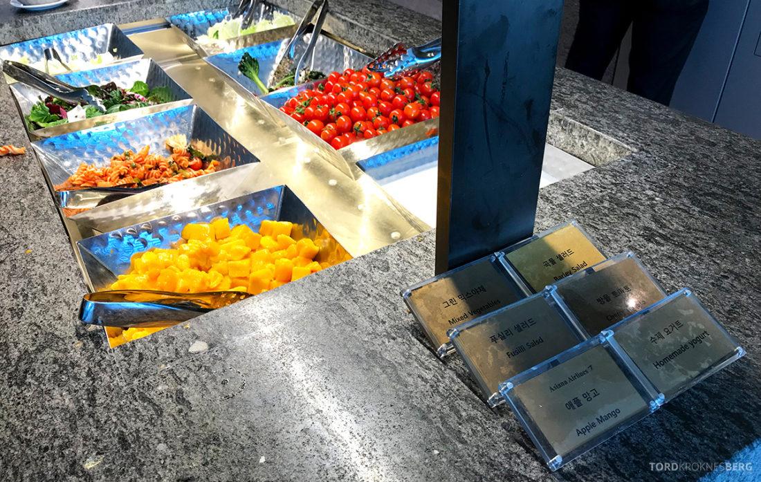 Asiana Business Lounge Seoul beskrivelser av maten