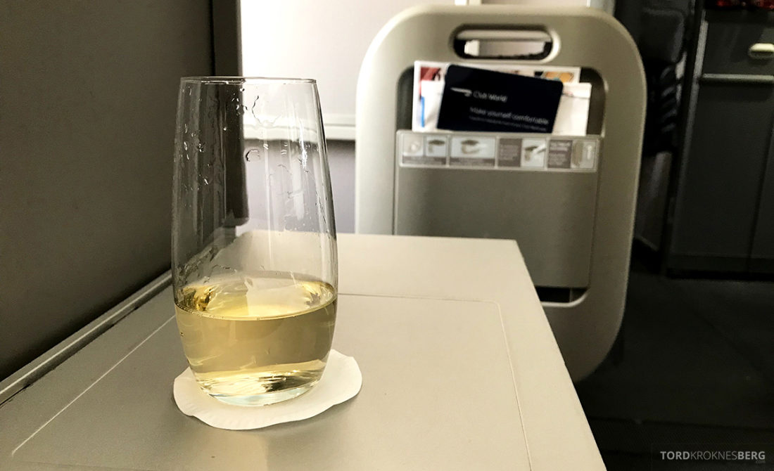 British Airways Club World Seoul London champagne