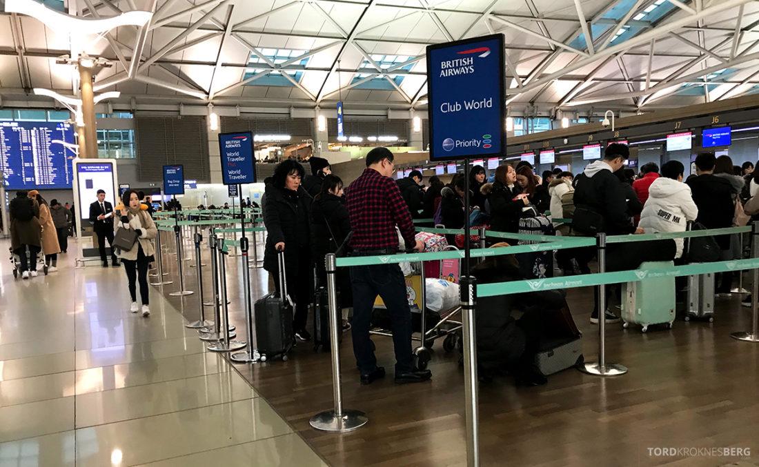 British Airways Club World Seoul London Economy innsjekk