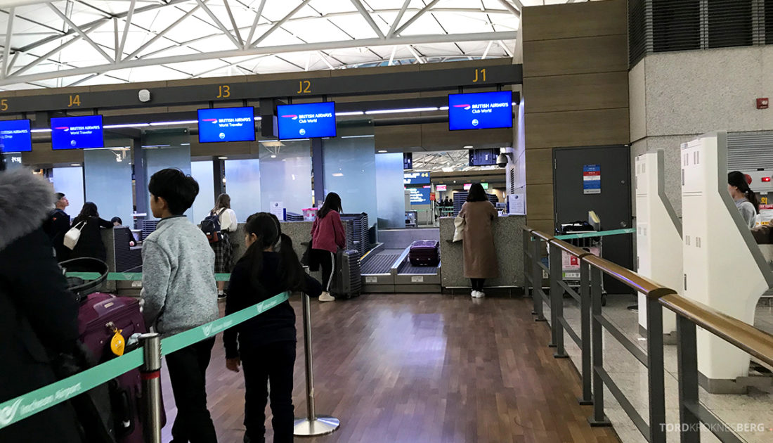 British Airways Club World Seoul London innsjekk
