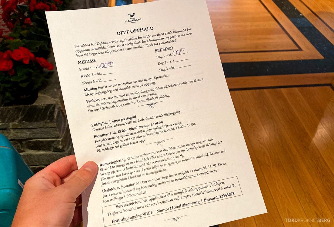 Hotel Ullensvang Hardanger Norge skjema