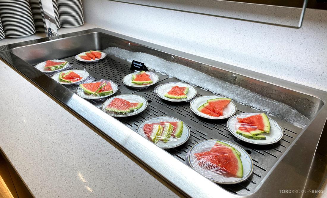 Hotel Ullensvang Hardanger Norge frokost vannmelon