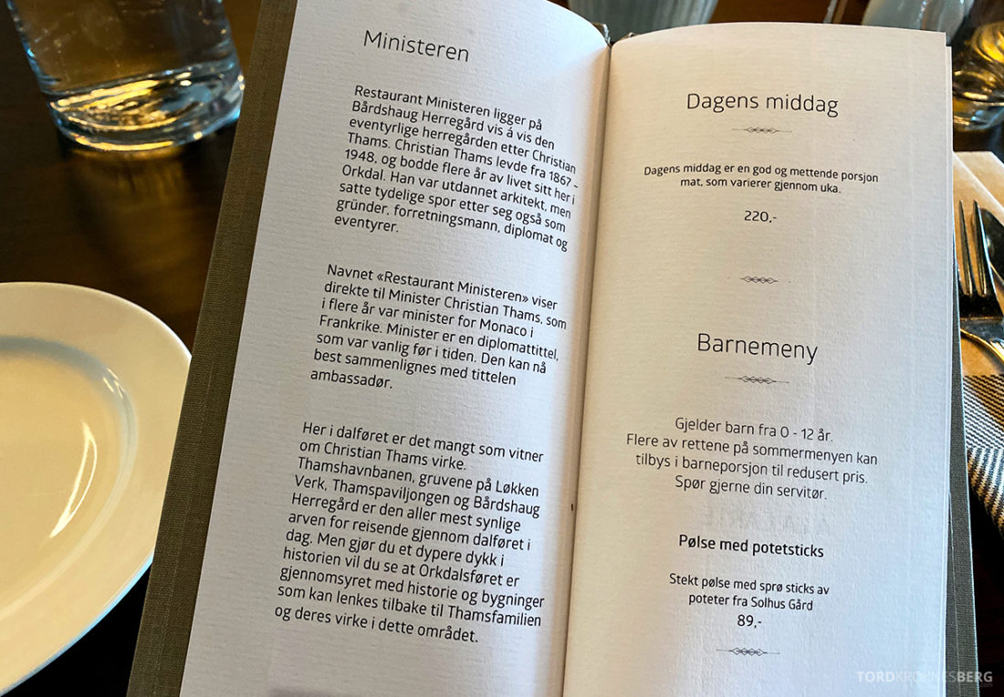 Bårdshaug Herregård Hotel Orkanger Ministeren meny