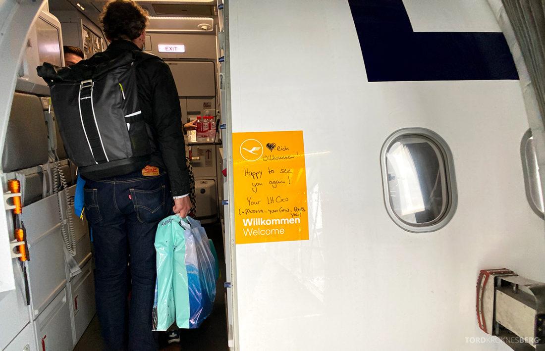 Lufthansa Economy Business Class Covid19 velkomst