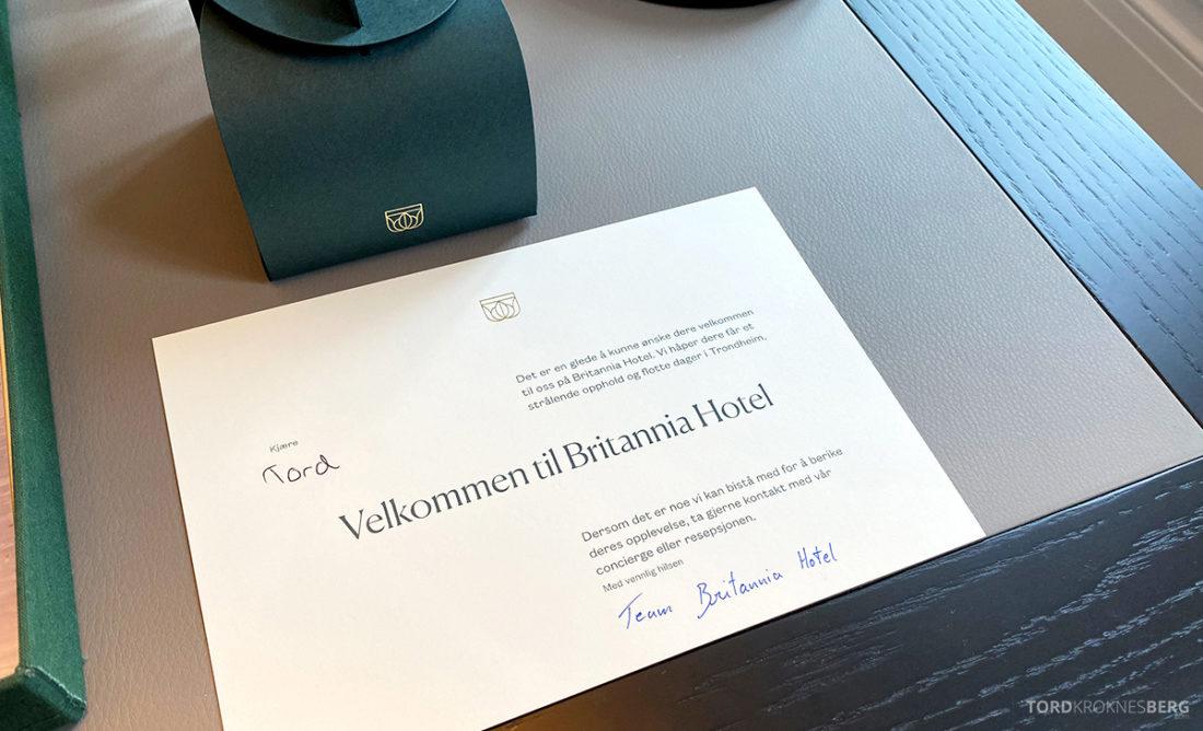 Britannia Hotel Trondheim velkomstkort