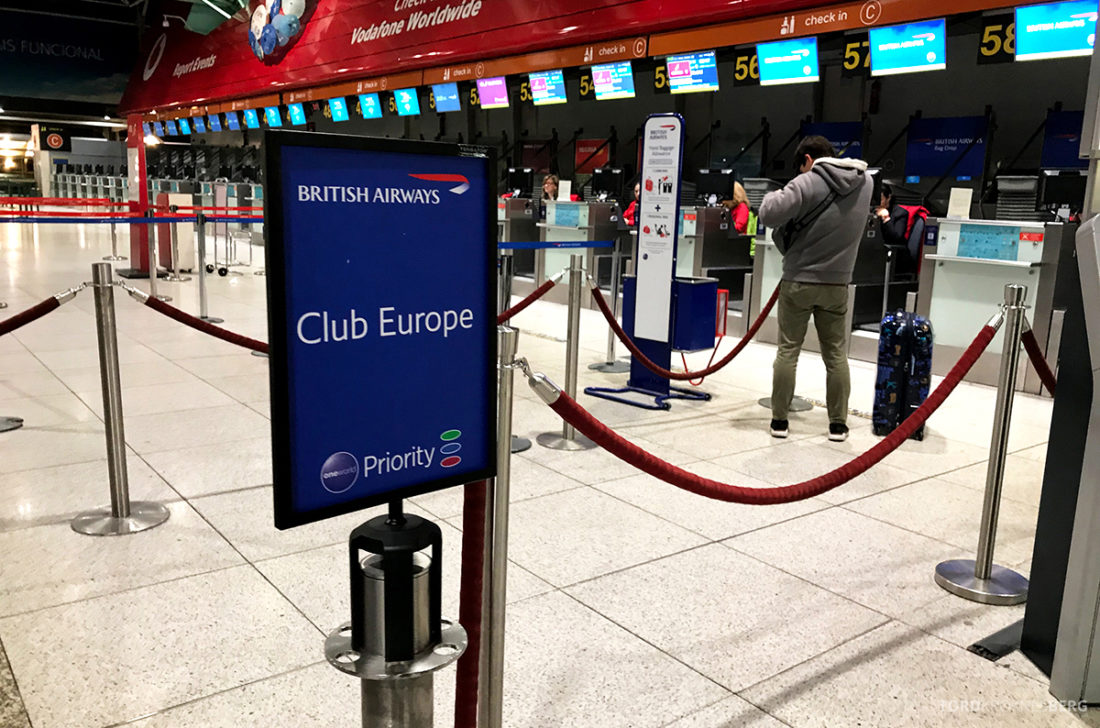 British Airways Club Europe Lisboa London Oslo innsjekk
