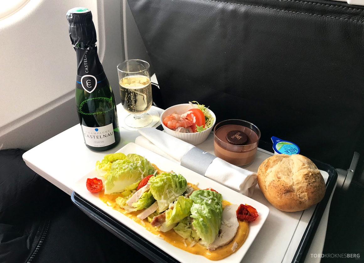 British Airways Club Europe Oslo Lisbon kaldt måltid