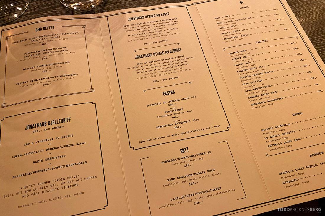 Jonathan Grill Restaurant Trondheim meny