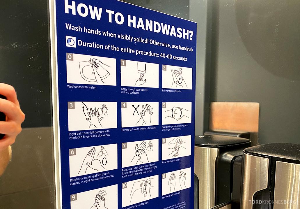 SAS Lounge Oslo Corona håndvask