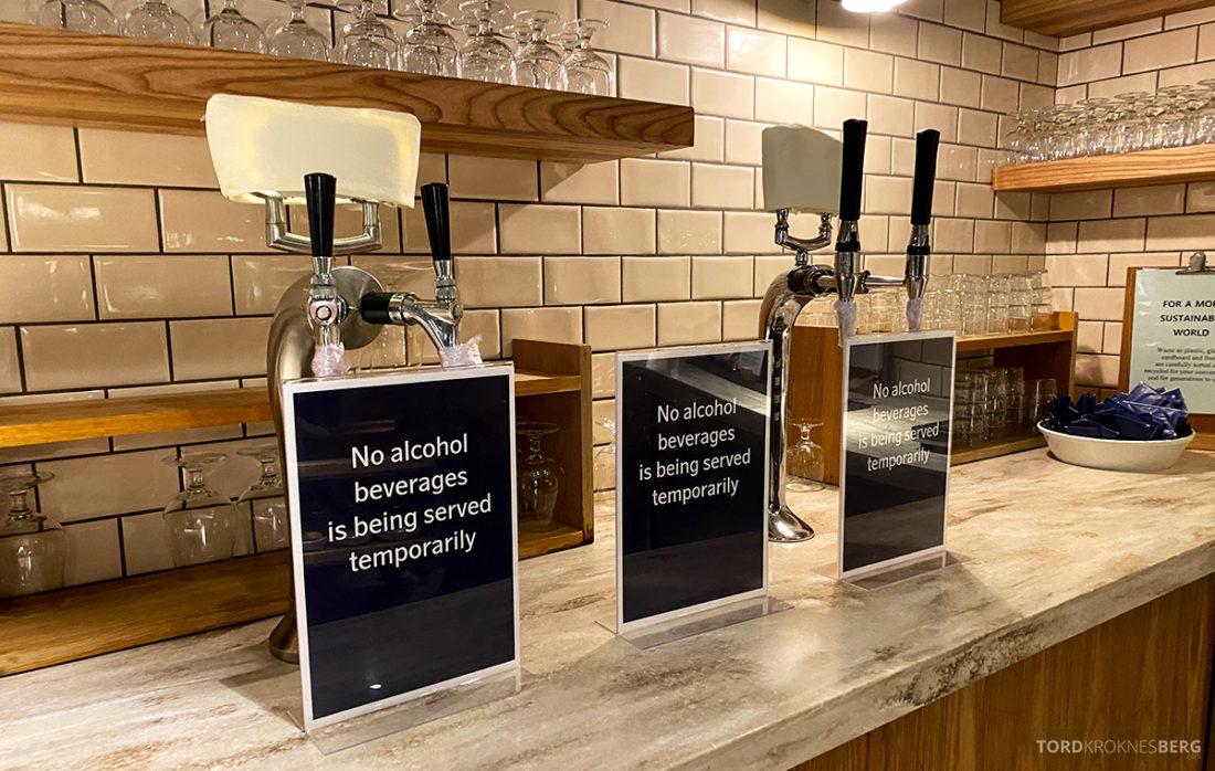 SAS Lounge Oslo Corona ingen alkohol