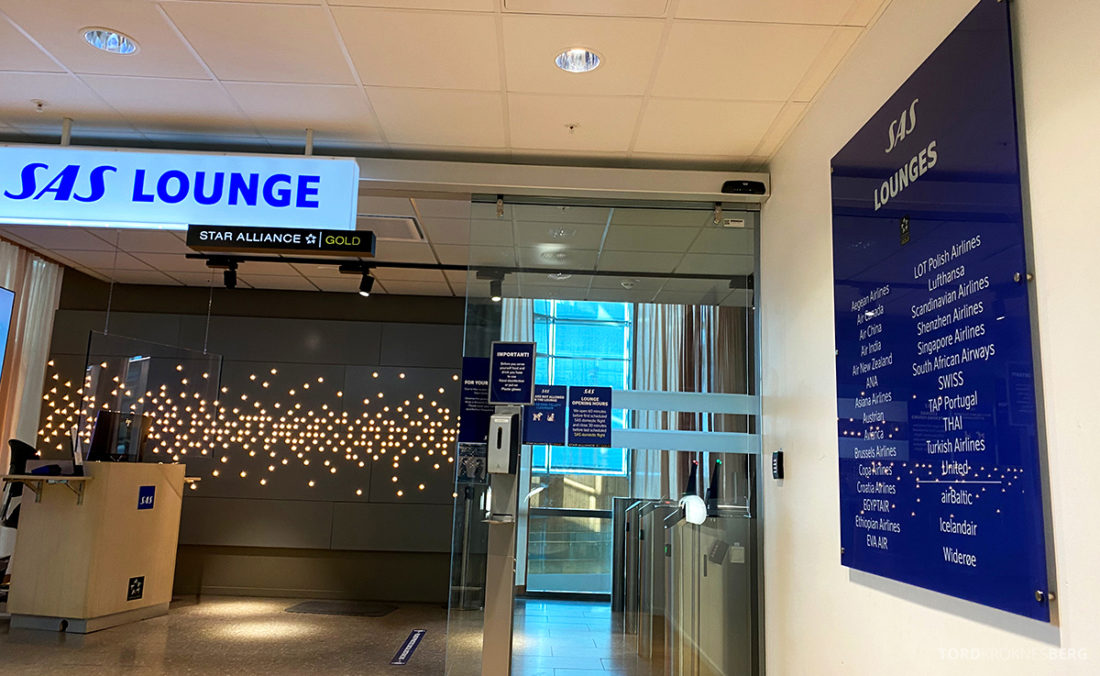 SAS Lounge Oslo Corona inngang