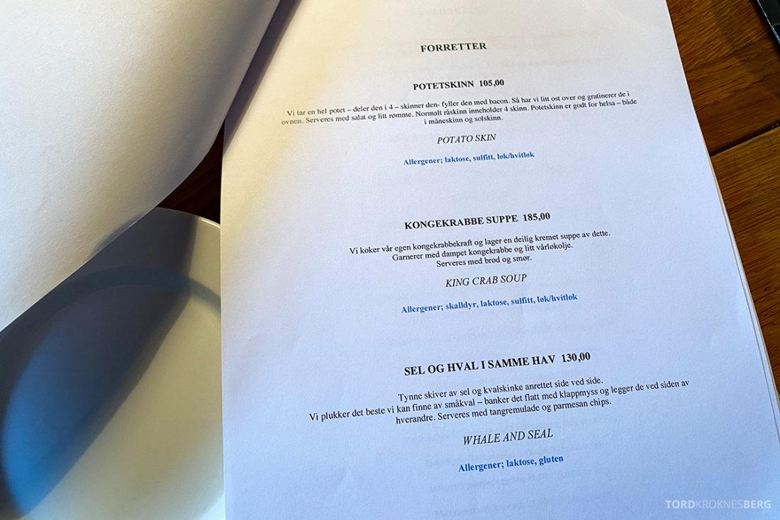 Biffhuset Skarven Tromsø Restaurant forretter meny