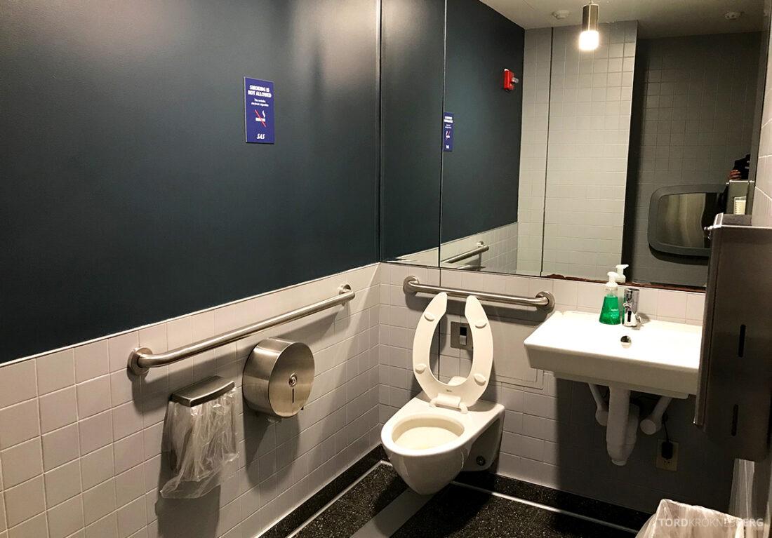 SAS Plus New York Oslo direkte lounge toalett