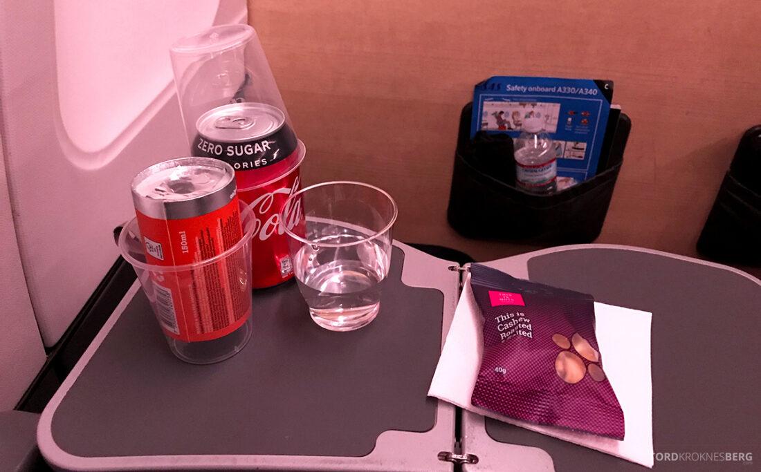 SAS Plus New York Oslo direkte drikke og snacks