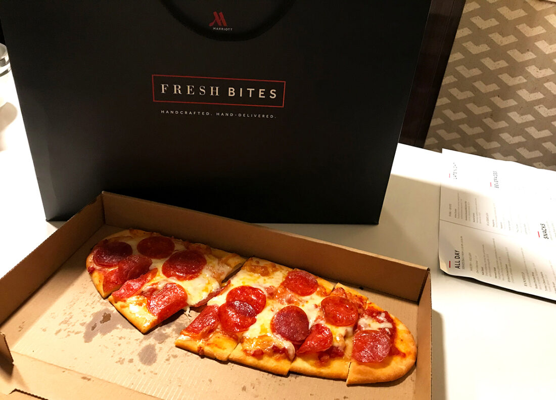 Beverly Hills Marriott Hotel room service pizza