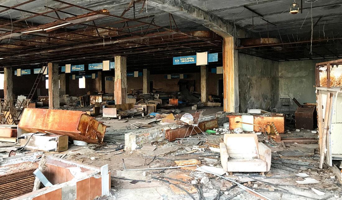 Chernobyl Pripyat Tour forlatt butikk