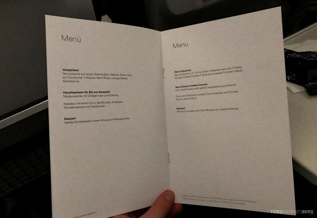 Lufthansa Economy Business Class Oslo Kiev meny