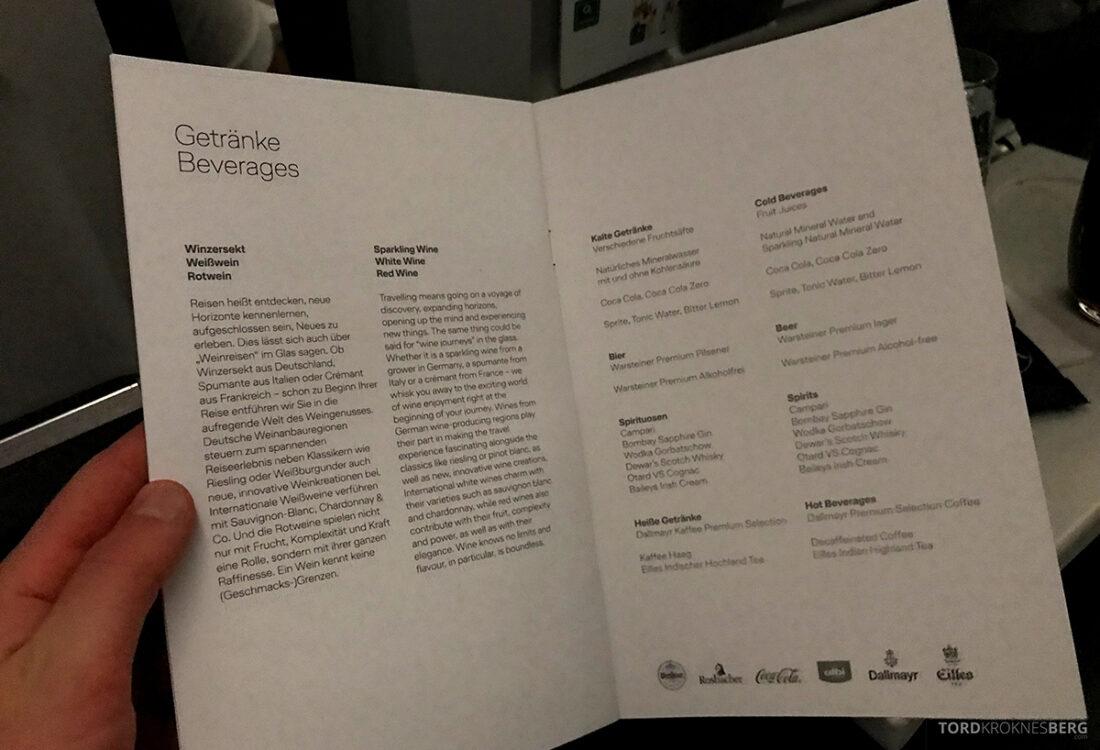 Lufthansa Economy Business Class Oslo Kiev drikkemeny